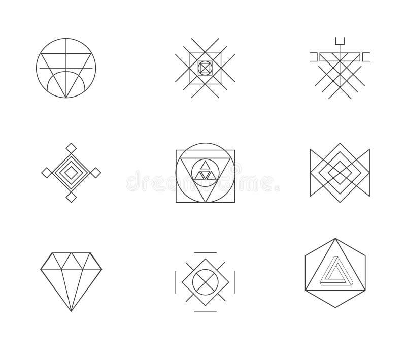 Stor uppsättning av geometriska hipsterformer stock illustrationer