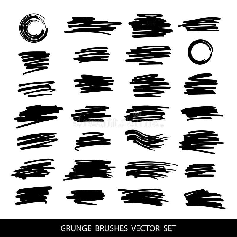 Stor uppsättning av grungeborsteslaglängder stock illustrationer