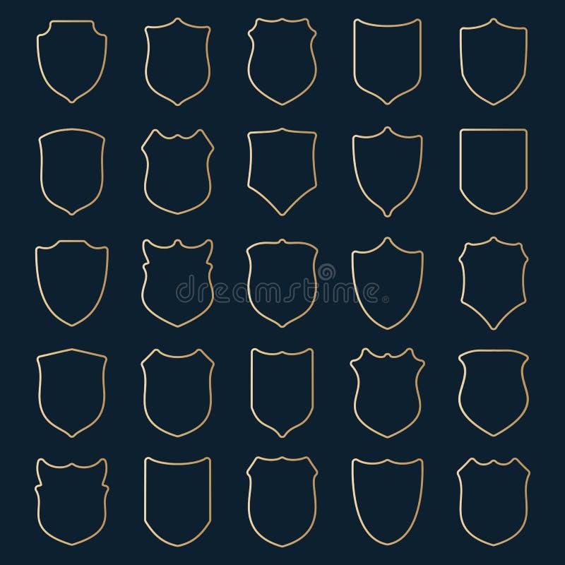 Stor uppsättning av guld- kontursköldar på blå bakgrund royaltyfri illustrationer