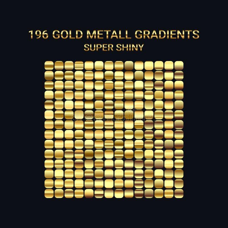 Stor uppsättning av guld- lutningmallar Skinande lutningar för digital design Ren glansig metallisk textur För text mynt vektor illustrationer