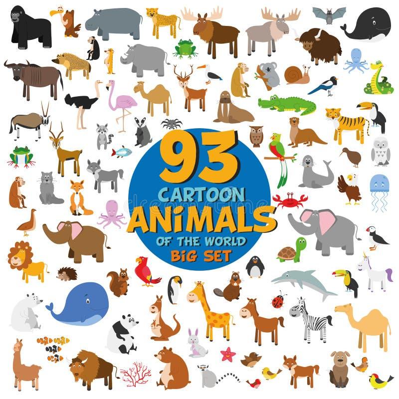 Stor uppsättning av 93 gulliga tecknad filmdjur av världen royaltyfri illustrationer