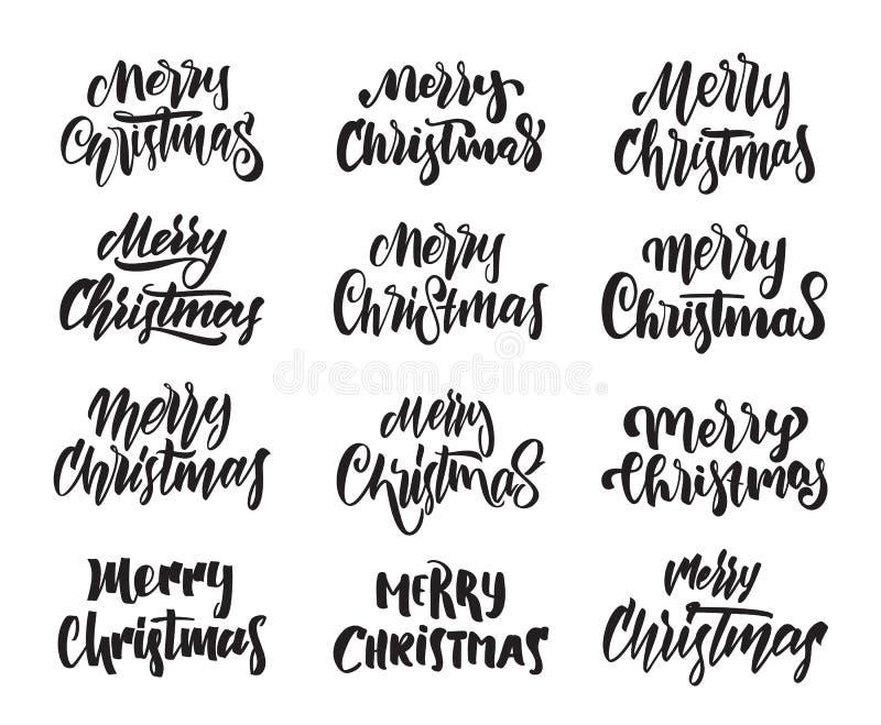 Stor uppsättning av hand dragen modern typbokstäver av glad jul Typografidesign vektor illustrationer