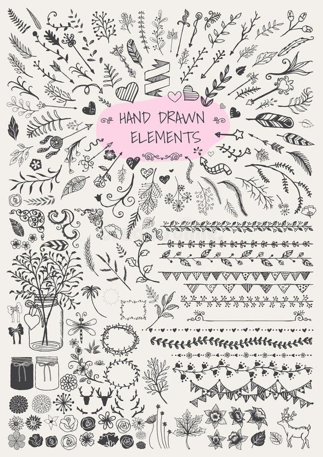 Stor uppsättning av hand dragit blom-, pil, dekorativa ramar, gräns, konsoler, murarekrus, horn och etc. För garnering Tappningel stock illustrationer