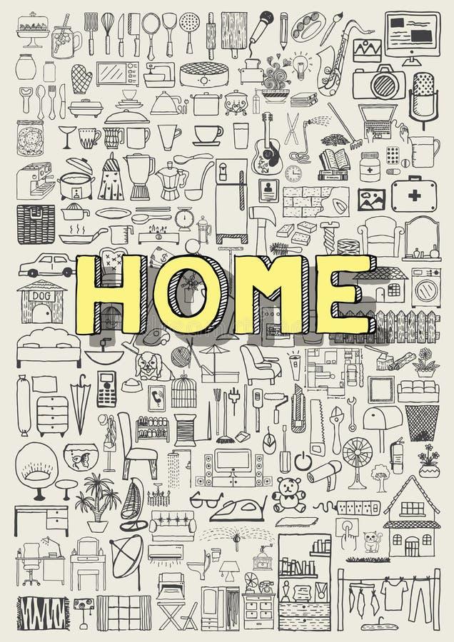 Stor uppsättning av hand drog symboler för hem- anordning Hemklotter stock illustrationer