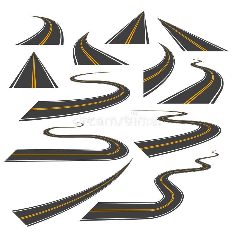 Stor uppsättning av huvudväg- eller vägkurvor, vänd och perspektiv vektor illustrationer
