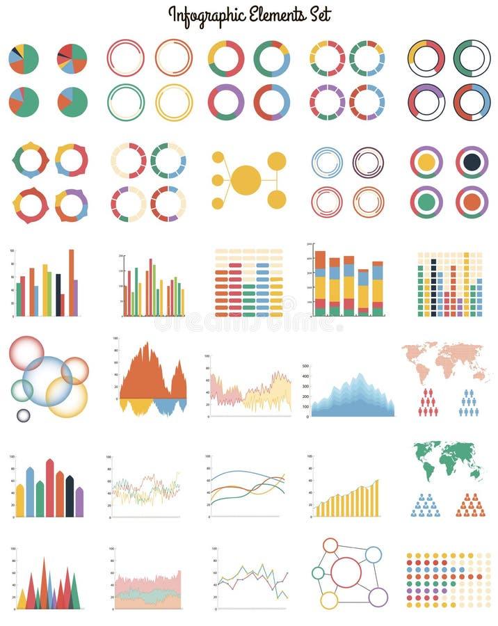 Stor uppsättning av infographic beståndsdelar royaltyfri illustrationer
