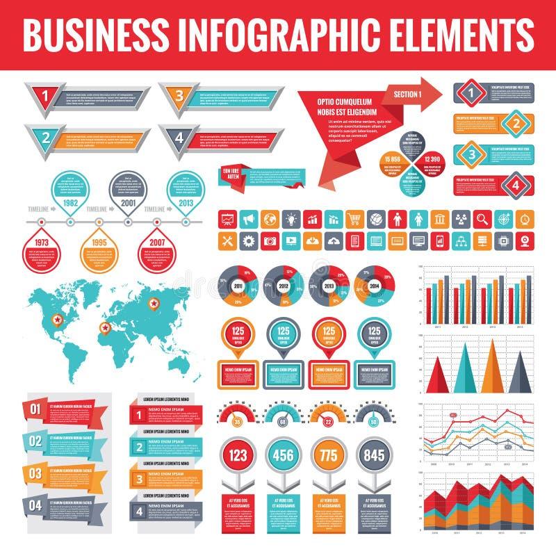 Stor uppsättning av infographic beståndsdelar för affär för presentation, broschyr, webbplats och annan projekt Abstrakta infogra stock illustrationer