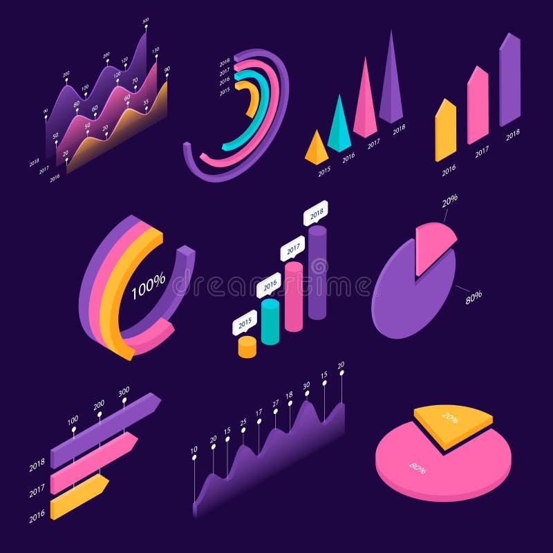 Stor uppsättning av infographic isometriska beståndsdelar stock illustrationer