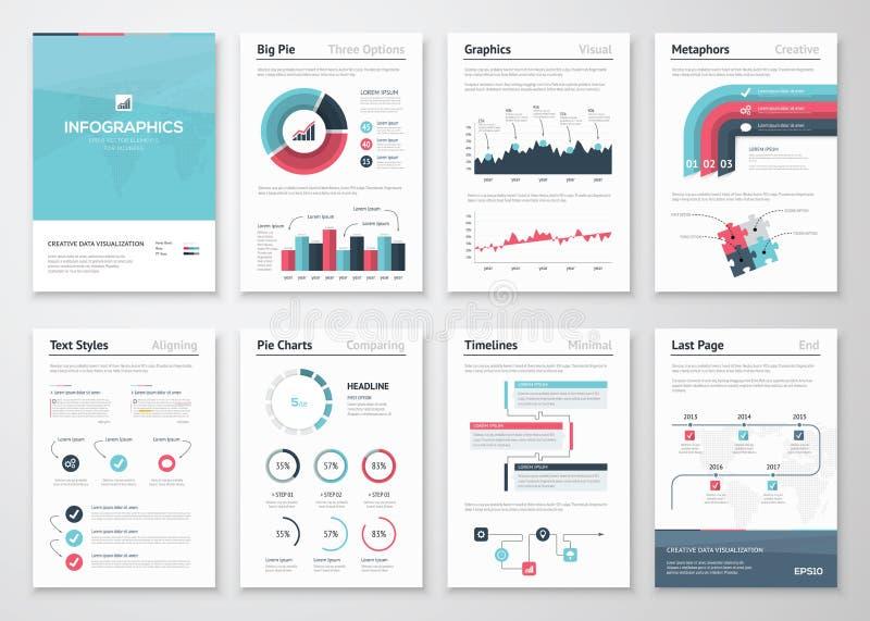 Stor uppsättning av infographic vektorbeståndsdelar och affärsbroschyrer stock illustrationer