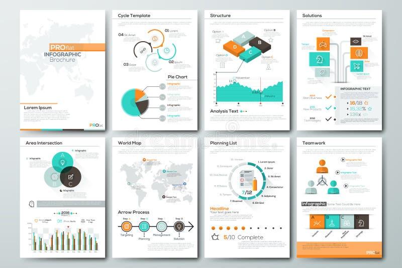 Stor uppsättning av infographic vektorbeståndsdelar och affärsbroschyrer vektor illustrationer
