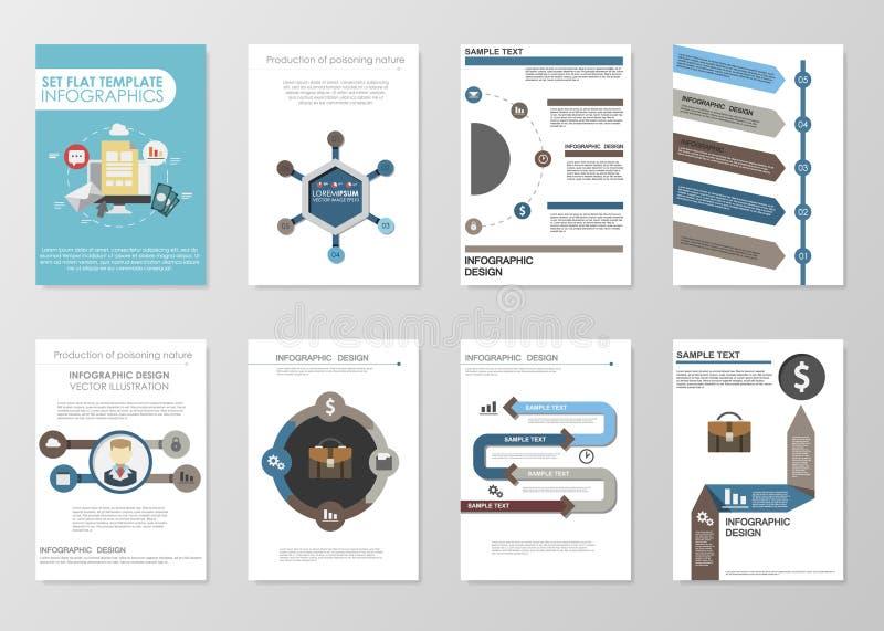 Stor uppsättning av infographicsbeståndsdelar i modern plan affärsstil stock illustrationer