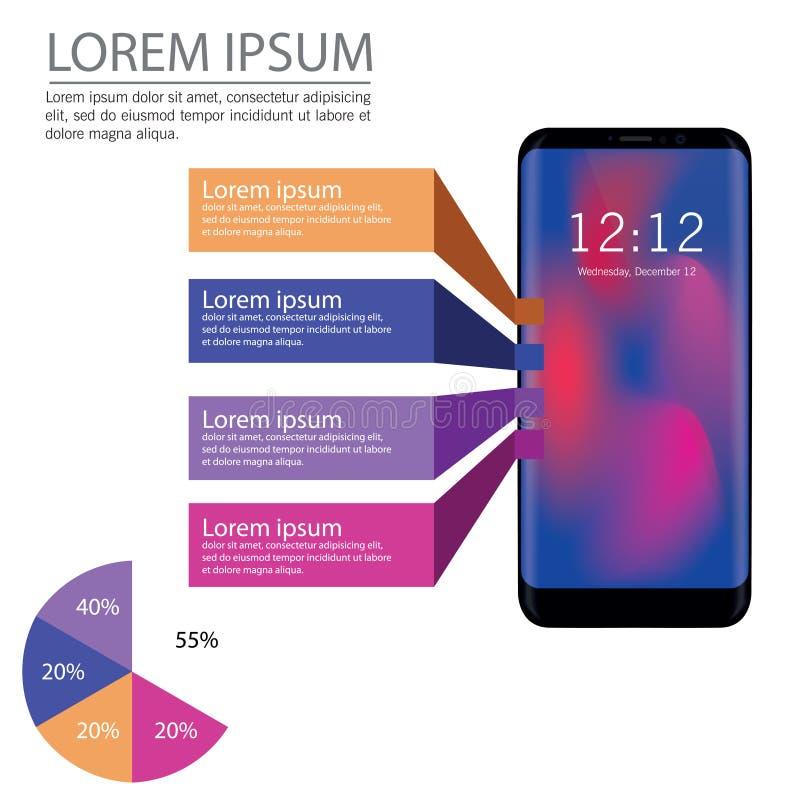 Stor uppsättning av infographicsbeståndsdelar i modern plan affärsstil Vektorillustrationer av den moderna infographicsen om IT royaltyfri illustrationer