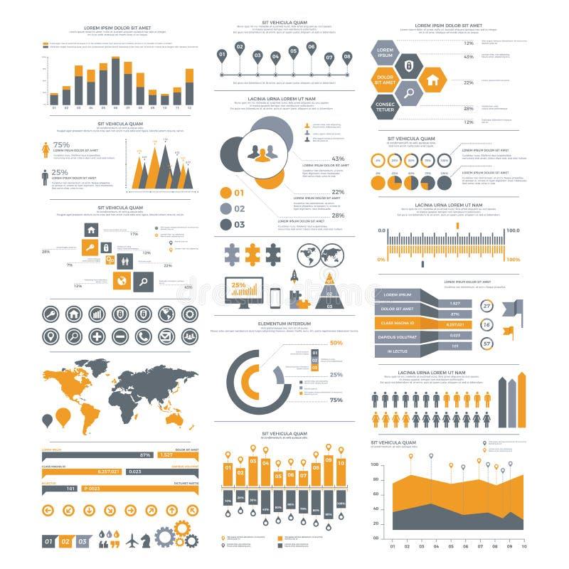 Stor uppsättning av infographicsbeståndsdelar Vektorillustration för busine royaltyfri illustrationer