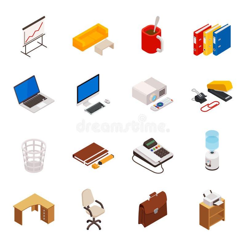 Stor uppsättning av isometriskt volymetriskt 3D av symboler på ett tema av kontorsutrustning royaltyfri illustrationer
