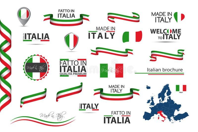 Stor uppsättning av italienska band, symboler, symboler och flaggor vektor illustrationer