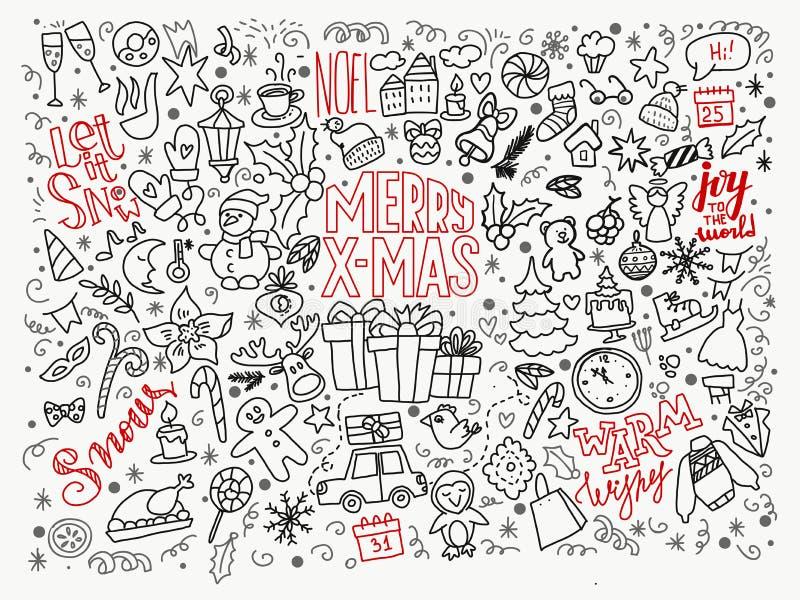Stor uppsättning av juldesignbeståndsdelar vektor illustrationer