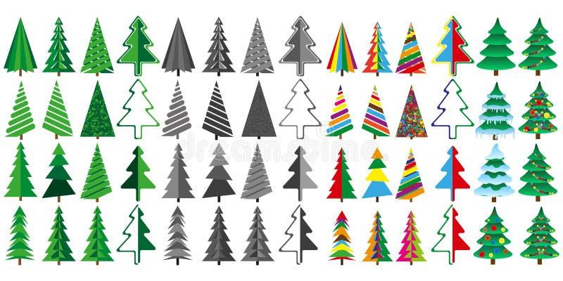 Stor uppsättning av julgranar i färg och grå färger royaltyfri illustrationer