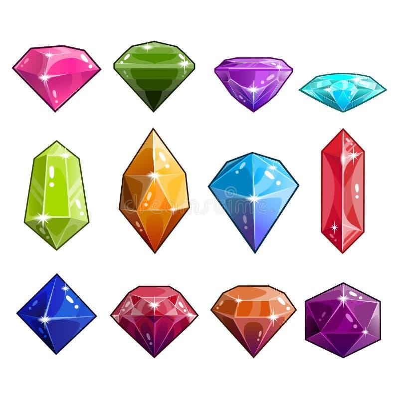 Stor uppsättning av juvel- och diamantsymboler royaltyfri illustrationer