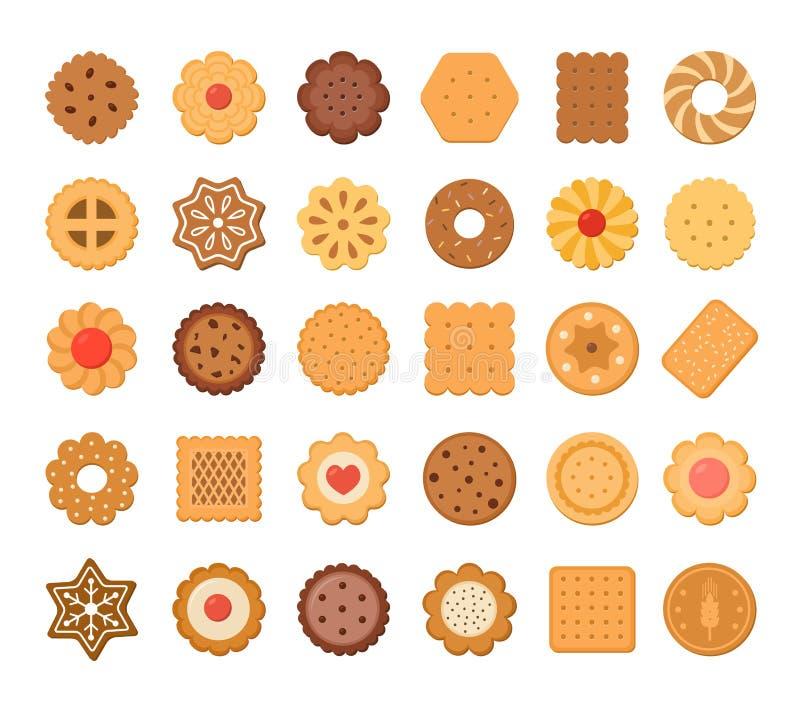 Stor uppsättning av kakor och kex bakgrund isolerad white vektor illustrationer