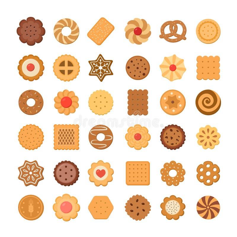 Stor uppsättning av kakor och kex bakgrund isolerad white stock illustrationer