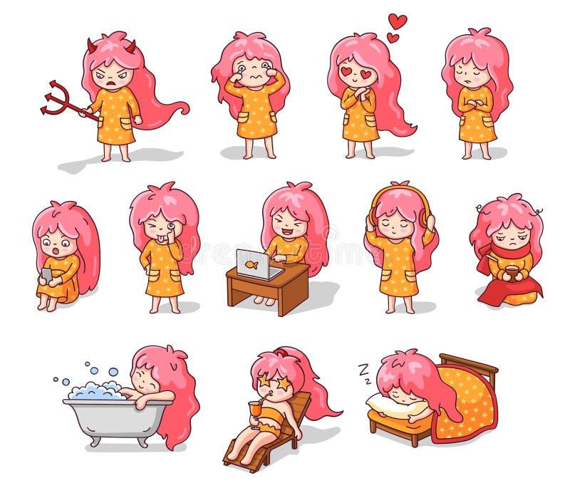 Stor uppsättning av klistermärkear och emoji med roliga små flickor Tecknad filmtecken med olika ansiktsuttryck som gör royaltyfri illustrationer