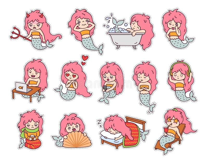 Stor uppsättning av klistermärkear och emoji med roliga små sjöjungfruar royaltyfri bild