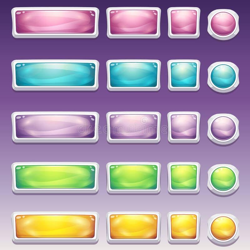 Stor uppsättning av knappar i olika format för glamorös vit ram för användargränssnittet till dataspelar och rengöringsdukdesigne royaltyfri illustrationer