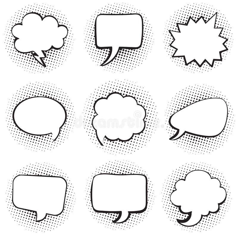 Stor uppsättning av konst för pop för stil för bakgrund för prick för tom för textanförande för mall komisk bubbla för pratstund  royaltyfri illustrationer