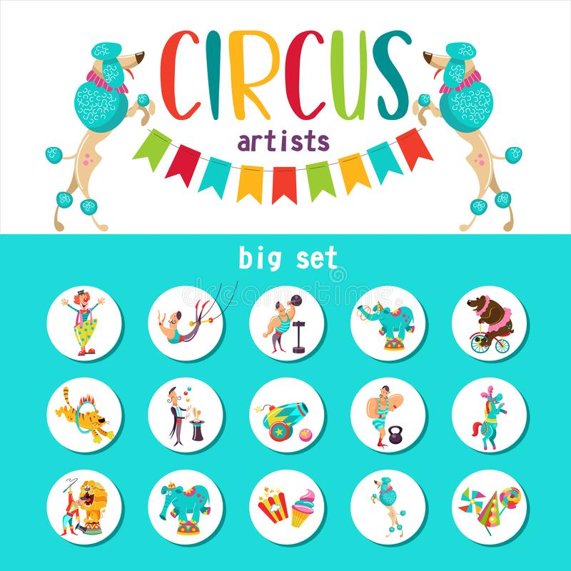 Stor uppsättning av konstnärer för vektorclipartscirkus och utbildade djur också vektor för coreldrawillustration stock illustrationer