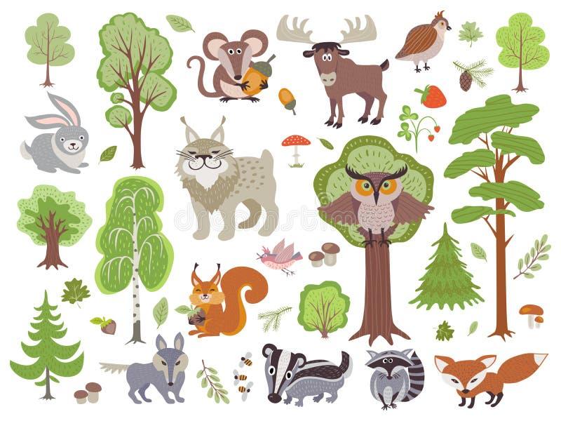 Stor uppsättning av lösa skogdjurfåglar och träd Tecknad filmskog på vit bakgrund royaltyfri illustrationer