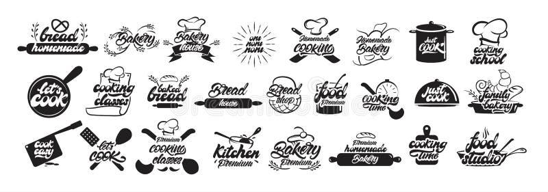 Stor uppsättning av laga mat och bagerilogoer, i att märka stil Brödemblem Kock, kock, k?ksger?dsymbol eller logo handskrivet stock illustrationer