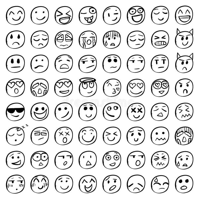 Stor uppsättning av 64 leenden Svartleenden vektor stock illustrationer
