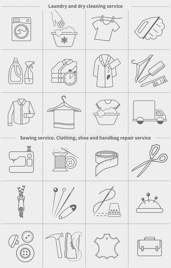 Stor uppsättning av linjära symboler för vektor, etiketter, logoer Kemtvätttvätteri och torkduk som tvättar sig och att sy och at royaltyfri illustrationer