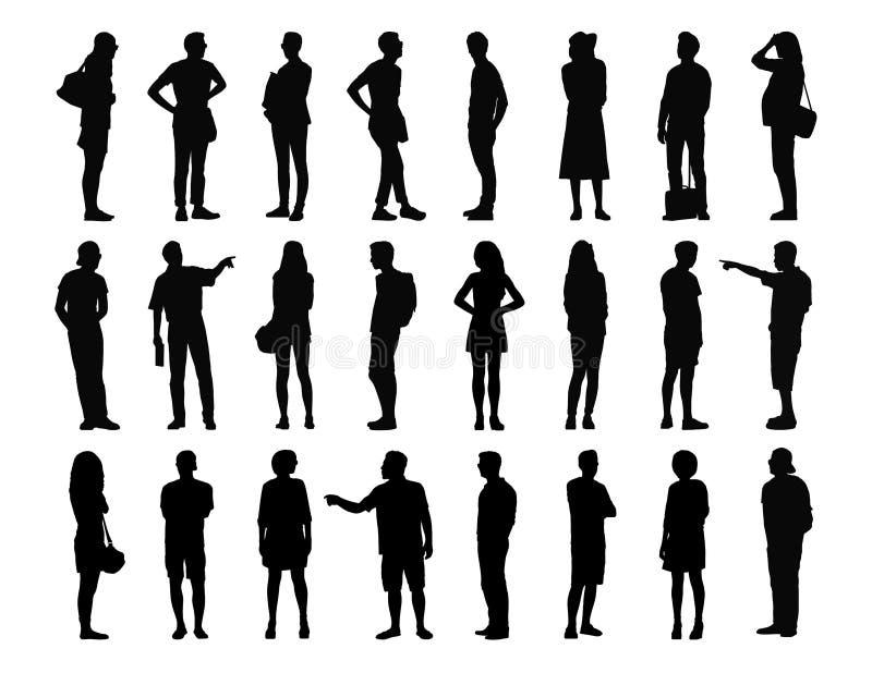 Stor uppsättning av män och kvinnor som står konturer 3 arkivfoto