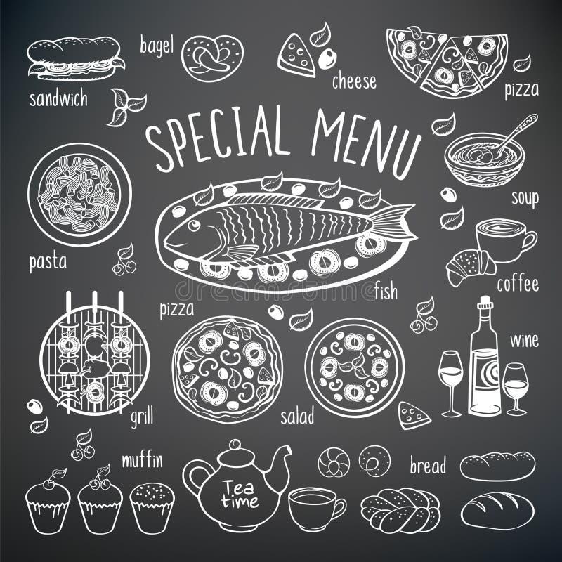Stor uppsättning av matbeståndsdelar vektor illustrationer