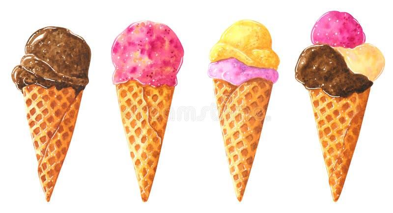 Stor uppsättning av olika chokladglasskottar i dillande, vattenfärggemkonst stock illustrationer