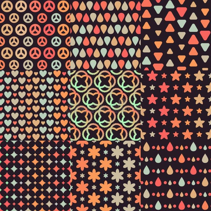Stor uppsättning av 9 olika kombinerande bruna retro sömlösa modeller vektor illustrationer