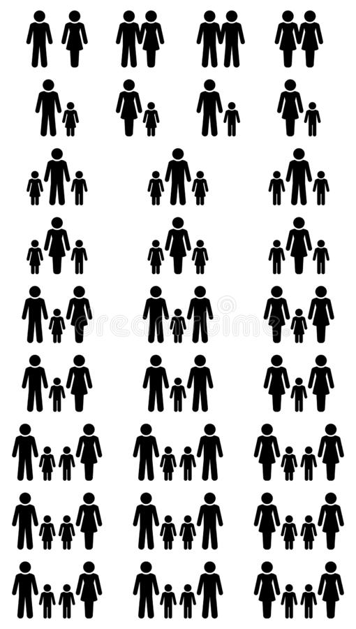 Stor uppsättning av olika konstellationer för svarta familjsymboler vektor illustrationer