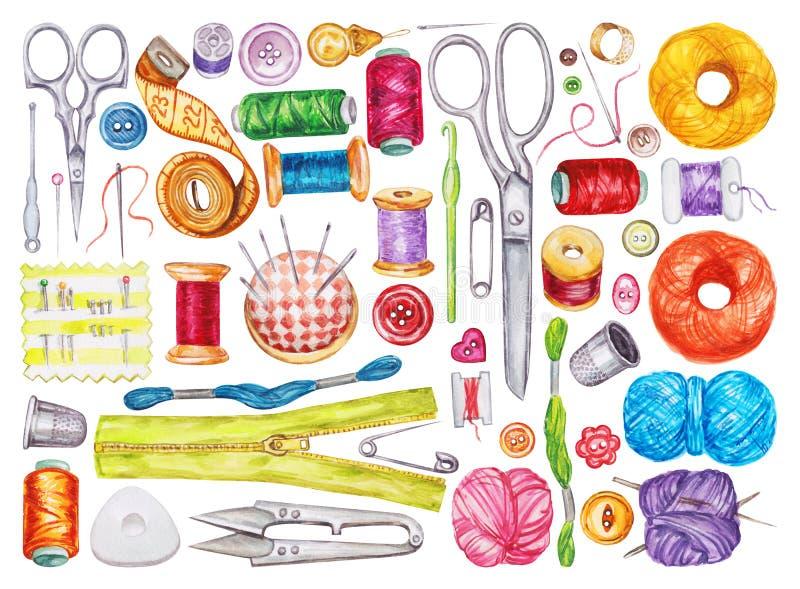 Stor uppsättning av olika vattenfärgsömnadhjälpmedel fingerborg för sömnad för bomullssatsvisare stock illustrationer