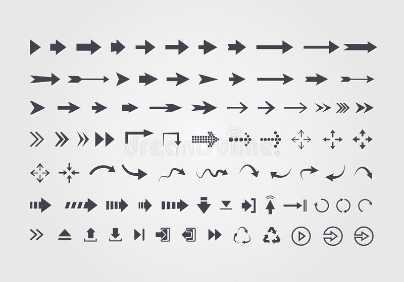 Stor uppsättning av olika vektorpilar royaltyfri illustrationer