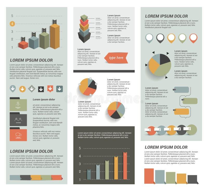 Stor uppsättning av plana infographic beståndsdelar vektor illustrationer