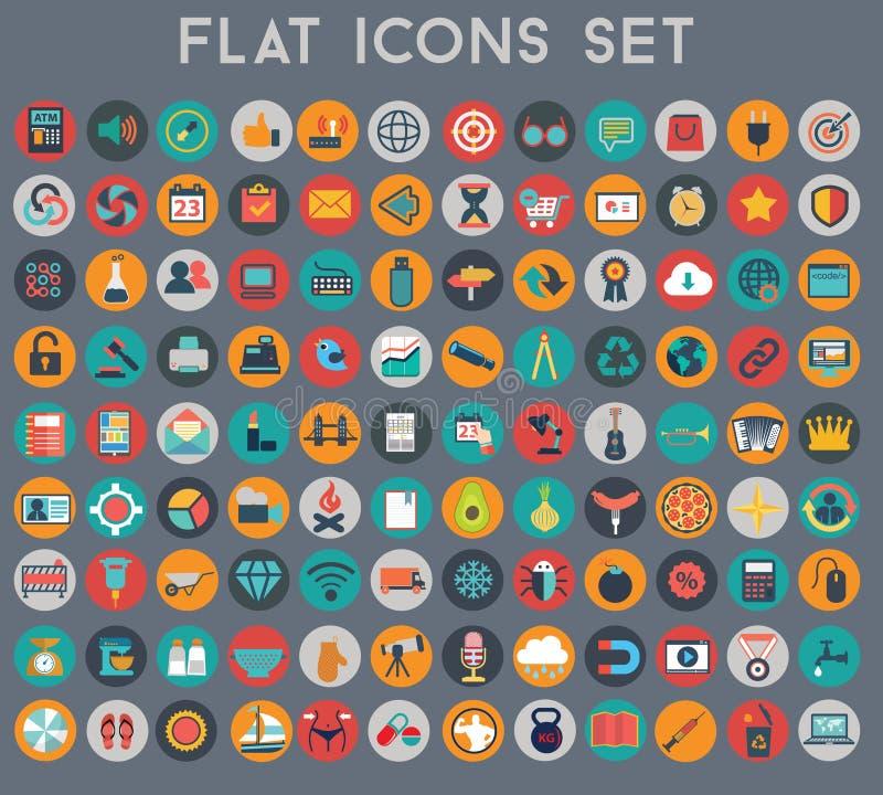 Stor uppsättning av plana vektorsymboler med moderna färger stock illustrationer