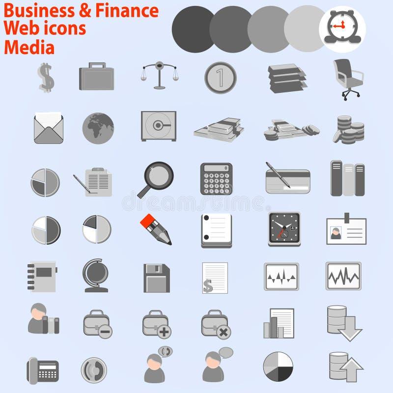 Stor uppsättning av rengöringsduksymboler. Affär finansmassmedia, vektor illustrationer
