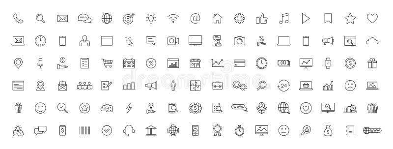 Stor uppsättning av rengöringsduksymboler för affär 100 och finansi linjen stil Pengar bank, kontakt, kontor, betalning, strategi stock illustrationer