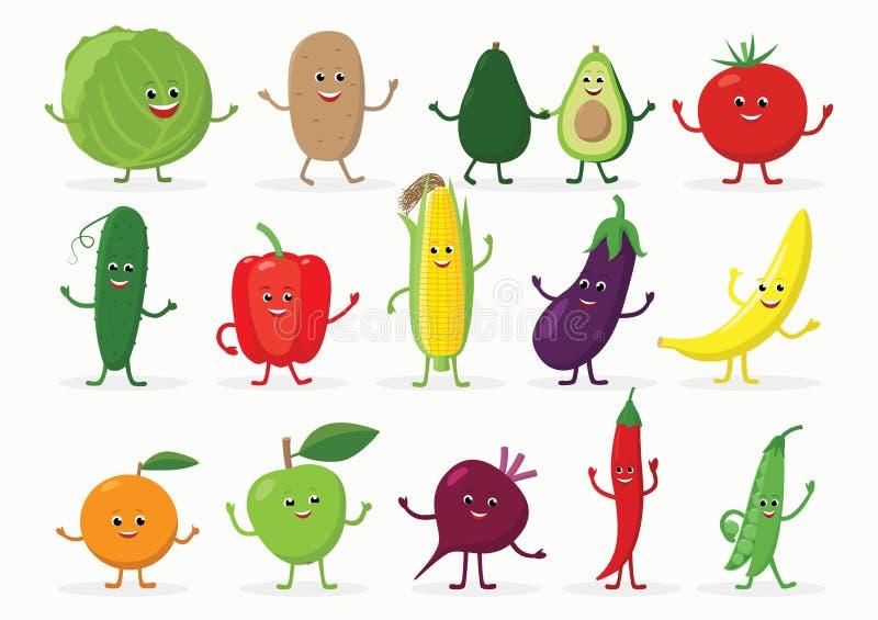 Stor uppsättning av roliga frukt- och grönsaktecknad filmtecken som ler med händer och ben som isoleras på vit bakgrund royaltyfri illustrationer