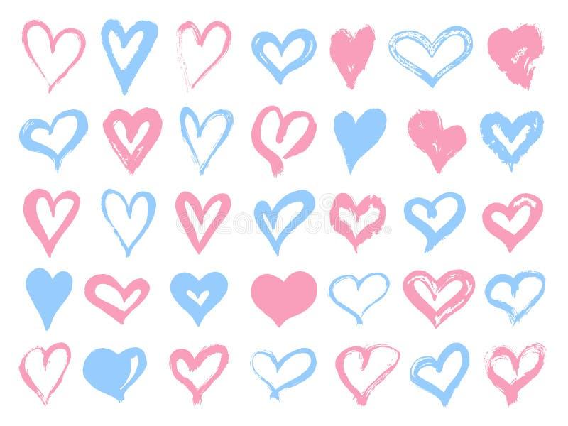 Stor uppsättning av rosa färg- och blåttgrungehjärtor Designbeståndsdelar för valentindag Former för vektorillustrationhjärta iso stock illustrationer