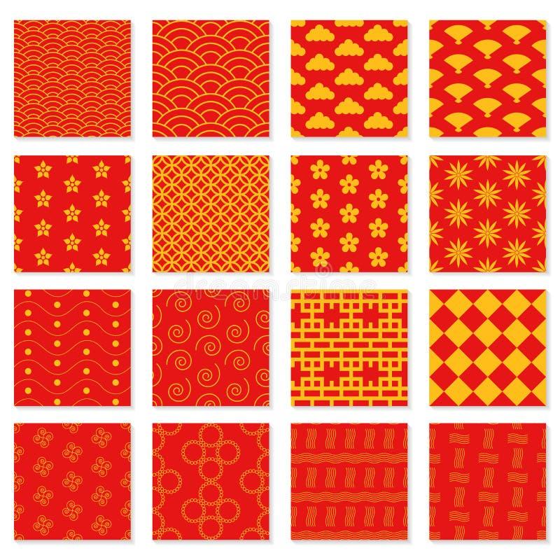 Stor uppsättning av sömlösa japanska modeller vektor illustrationer