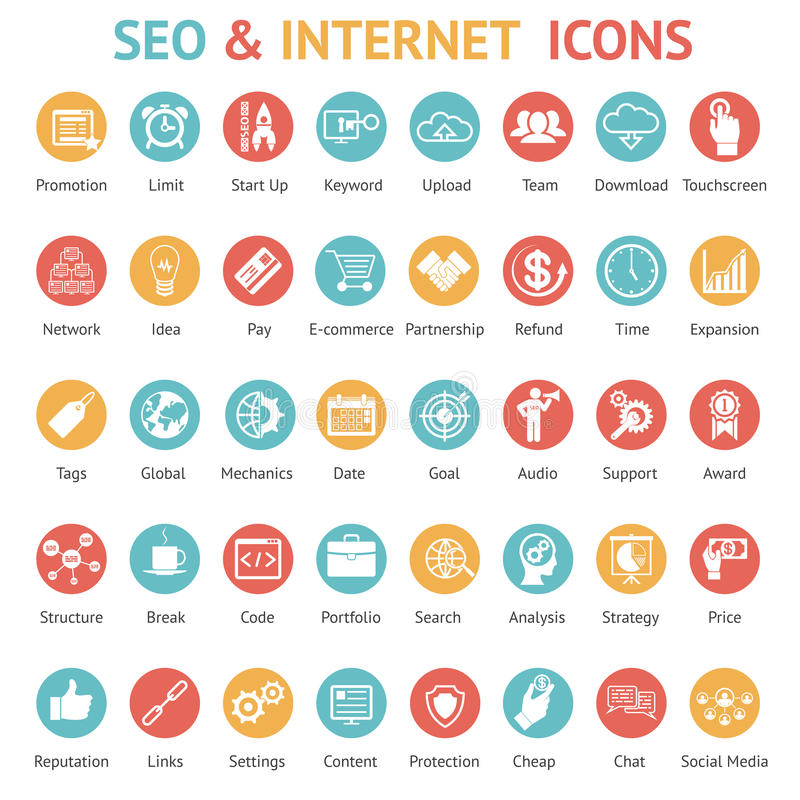 Stor uppsättning av SEO och internetsymboler
