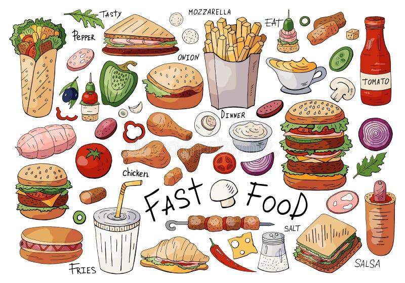 Stor uppsättning av snabbmatfärgbeståndsdelar: smörgåsar hamburgare, mellanmål som isoleras på vit bakgrund vektor illustrationer