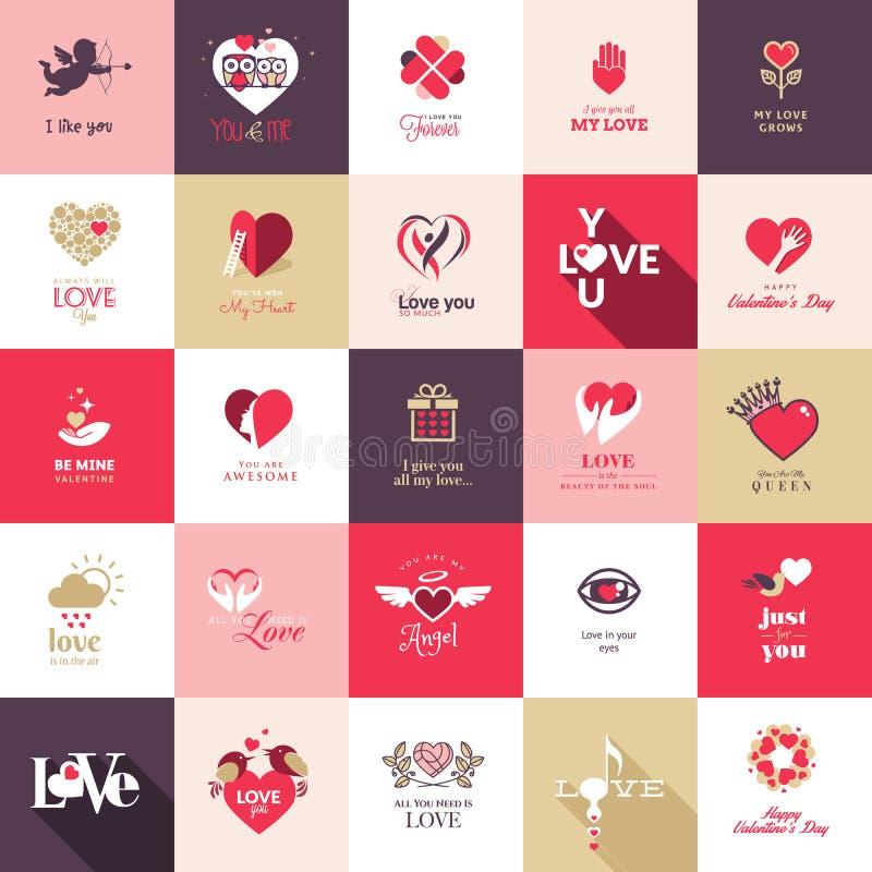 Stor uppsättning av symboler för valentindag vektor illustrationer